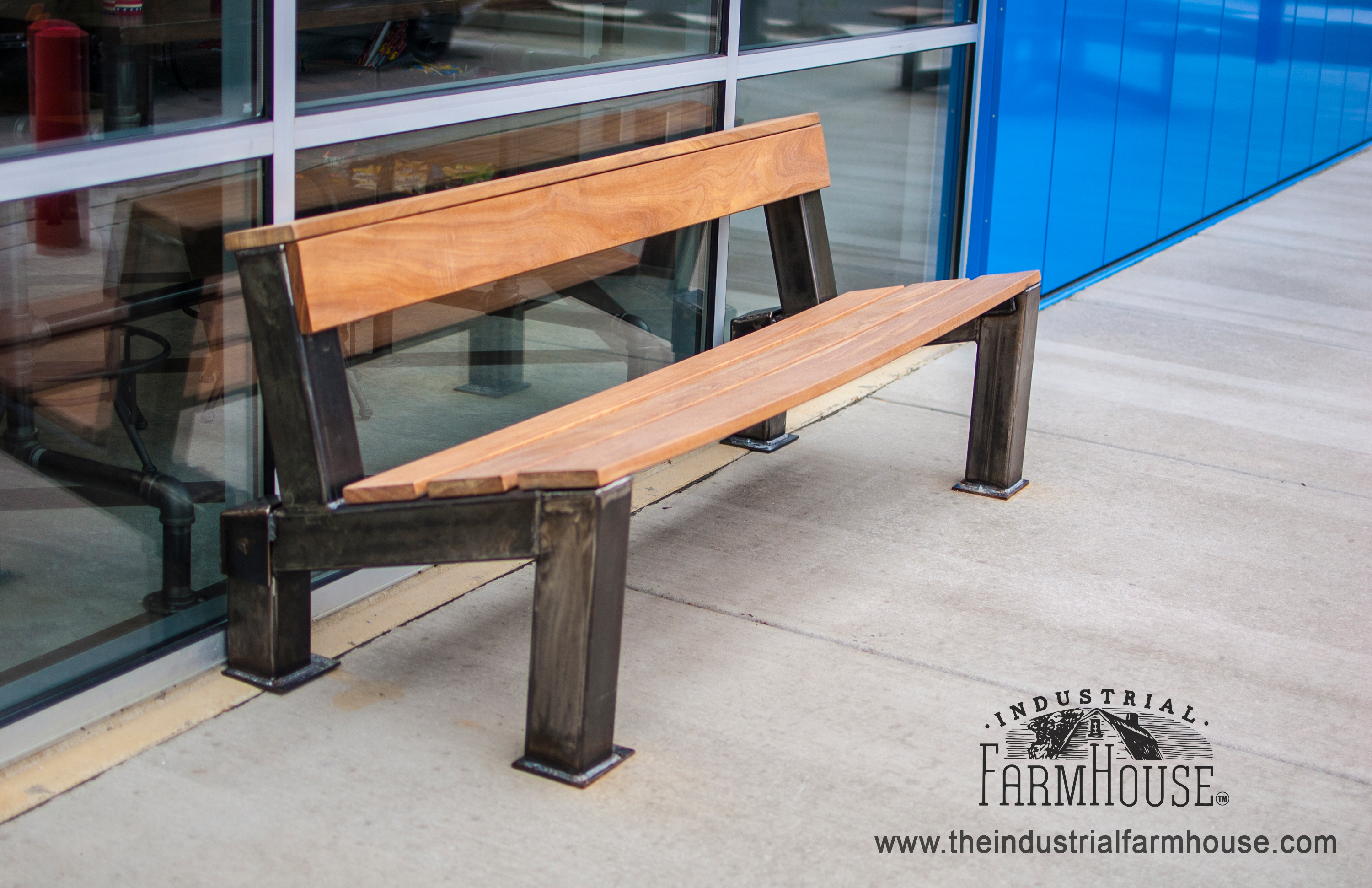 Outdoor Modern Industrial Style Ipe Wood Bench The