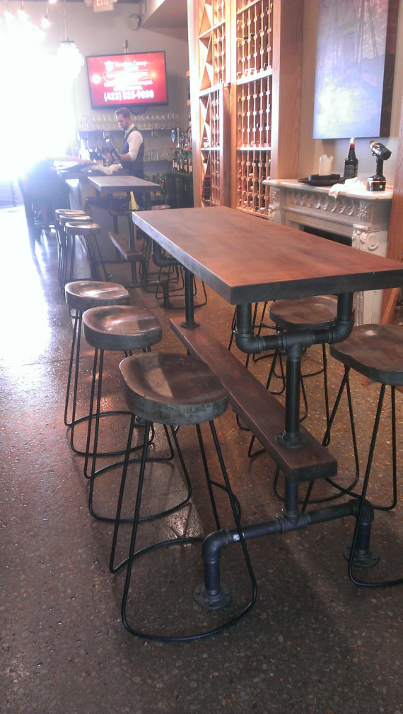 Industrial farmhouse bar height kitchen table the industrial farmhouse - Kitchen bar table ideas ...