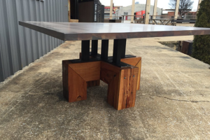 Coastal Industrial Table with Antiqued Cherry