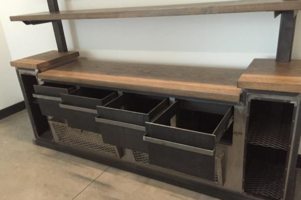 Modern Industrial Office Credenza And Shelving Unit