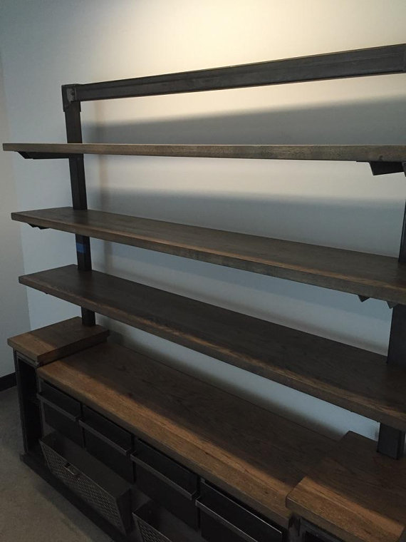 Modern Industrial Office Credenza And Shelving Unit The
