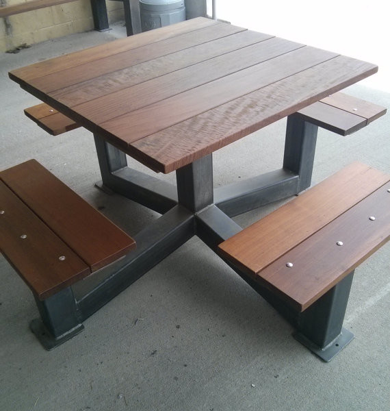 Handmade Dining Tables Industrial Look: Outdoor Modern Industrial Style Picnic Table