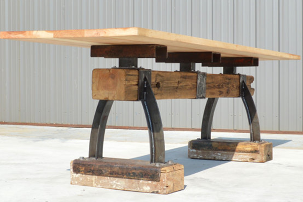 Post U0026 Beam Rustic Industrial Bar Height Table   The Industrial Farmhouse
