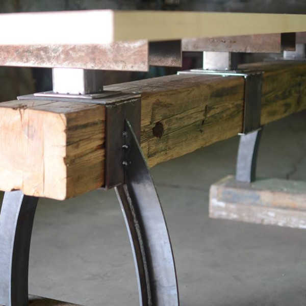 Post Amp Beam Rustic Industrial Bar Height Table The