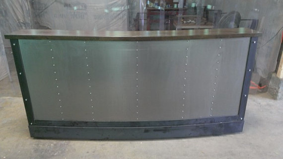 Restaurant Office Tufted Metal Front Reception Desk The