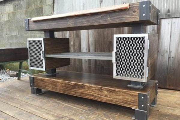 Rustic industrial wine bar buffet table the industrial for Industrial farmhouse plans