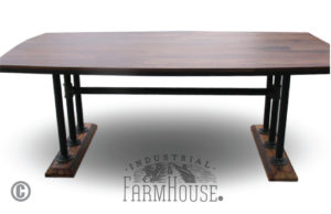 Black Walnut Nautical Table with Pipe Base