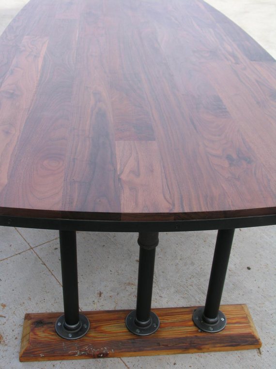 Black Walnut Nautical Table With Pipe Base The