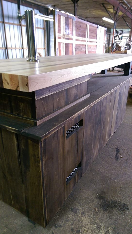 butcher block bar with kegerator storage the industrial