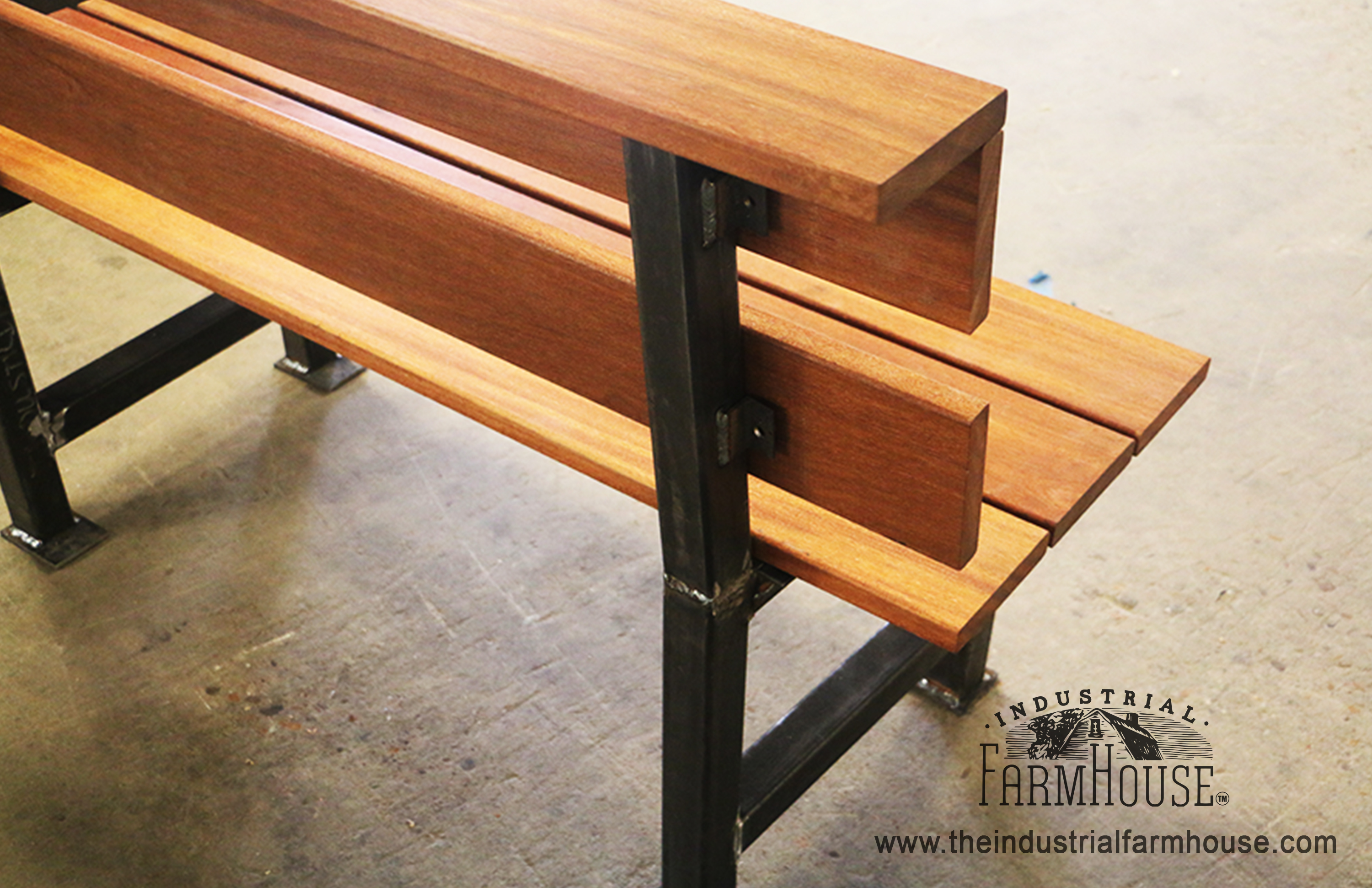 Outdoor Modern Industrial Style Wood Bench The